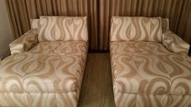 A Rudin, pair chaise lounges, Saarinen,  Clarence House fabric