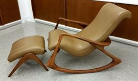 Vladimir Kagan, Contour rocking chair & foot stool, in walnut for Ralph a Pucci with stingray leather from Holly Hunt