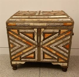 Moroccan chest, metal, bone & semi-precious, velvet lined, 20th c