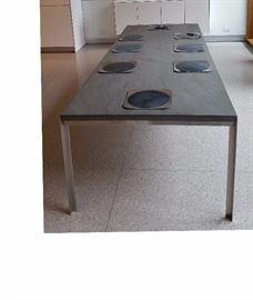 Chai Ming, Terania dining table with pietria bedonia, stone top