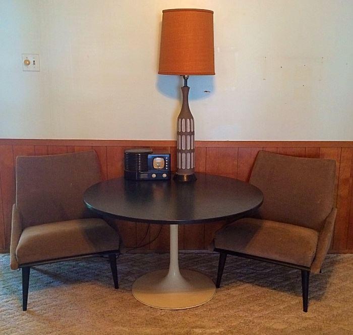 Mid C Mod Tulip Table, Mid C Mod Pottery Lamp, Mid C Mod Chairs (Four Available), Vintage Stereo