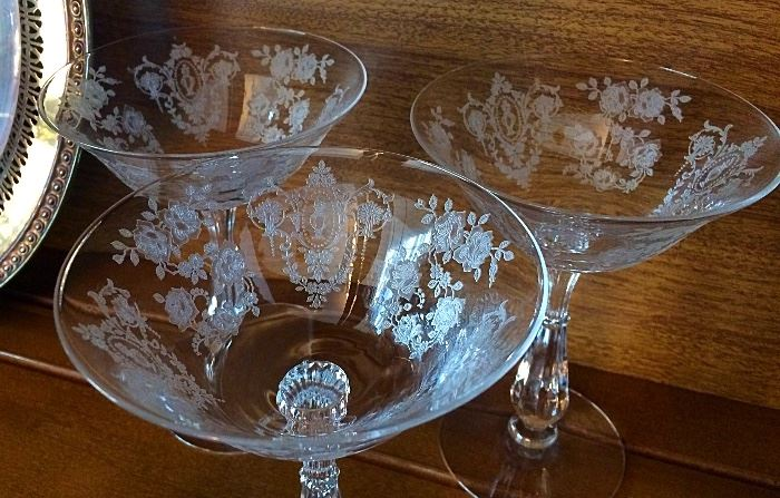 Vintage Cambridge Etched Glass (Several Styles of Glasses)