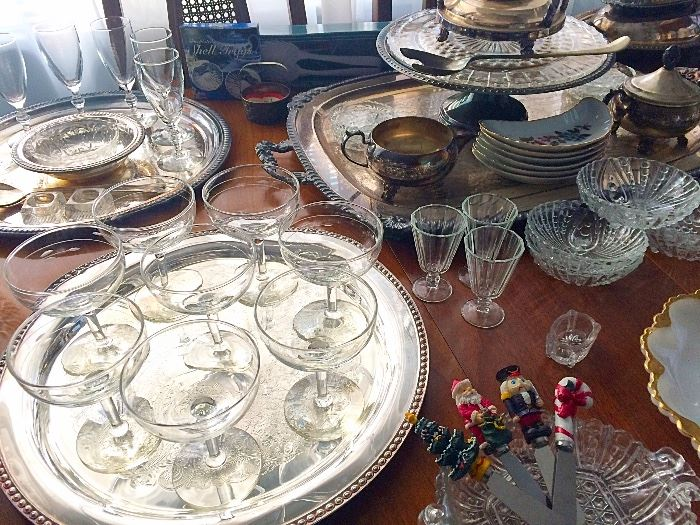 Vintage Glassware, Silverplate & More