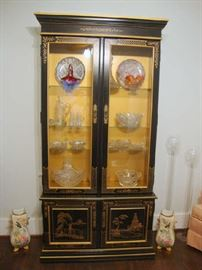 Asian Black Lacquer Display Cabinet with Lights