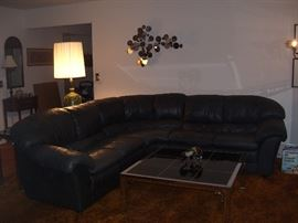 Leather sectional, Mastercraft coffee table.