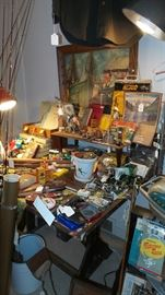 Assorted Vintage Fishing Items ~ Old Drafting Table