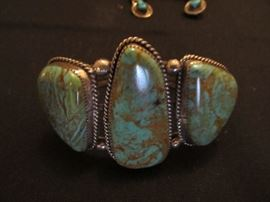 Green Navajo Turquoise Bracelet, In the flesh, this is the most beautiful green turquoise I have ever seen.