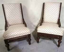 Pair walnut Victorian chairs