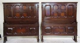Jacobean carved twin beds