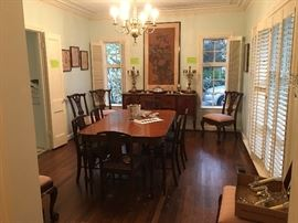 Antique English Dining Room with 6 Chairs, Buffet & Hutch  and Set of Chippendale Dining Chairs