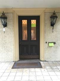 Original Entry Door with Leaded Glass Windows