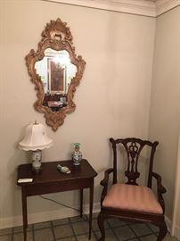 Mirror, Antique Table, Asian Lamp & Vase