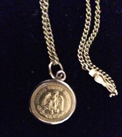 Mexican 2.5 Peso gold coin in 14k bezel & chain