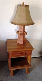 Ranch Oak side table and lamp