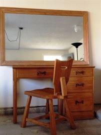 Ranch Oak mirror, desk and chair
