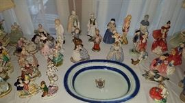 Chinese Export Platter, Capodimonte Figures, Royal Doulton Figures