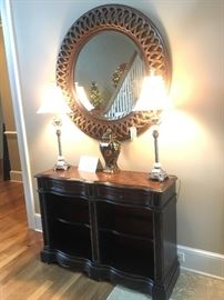"""Seven Seas""by Hooker entry table, accent lamps and round mirror"