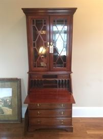 Solid wood secretary with glass display shelves