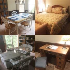 dining table, bed, wicker furniture, vintage desk