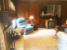 recliner, end table, lamps, fireplace tools