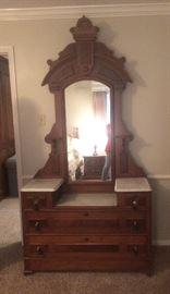 Victorian walnut dresser, Eastlake style