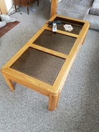 Smokey glass and wood Coffee Table