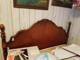 Antique Double Bed Headboard and Footboard. Maker's Mark J