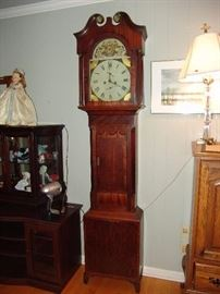 Tall case clock with porcelain face
