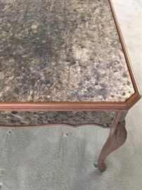 Detail of Antiqued Mirror Table Top