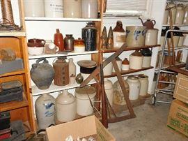 antique jugs and mason jars
