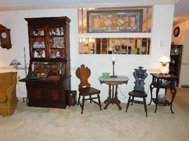 Eastlake secretary, gothic chairs and marble topped table
