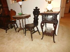 gothic chairs and accent table