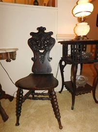 Gothic style chair and accent table