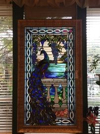 Tiffany recognized LaFarge Window featuring gorgeous eye-popping turquoise and other shades of blue and green opalescent glass with solid impressive wood carved frame.