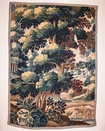 """Forest Scene Verdure Tapestry France, Aubusson 1670-1690, dim. 6'10"""" x5'1"""" with Documentation"""
