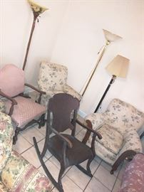 Antique rocking chairs and arm chairs