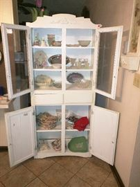 Old cupboard, and lovely serving dishes (Lenox, and more)