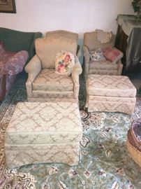 Comfortable, sturdy chairs and ottomans (and a gorgeous 9×11 area rug)