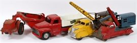 "Lot#3116, BUDDY-L, MARX, STRUCTO, DOEPKE MODEL TOYS, STAMPED METAL CONSTRUCTION EQUIPMENT, C1930-40'S, 8 PCS. H 6"" - 12"", L 11"" - 30""Includes a Marx Machinery Hauler, Magnetic crane (as Is), Marx Apex Construction Crane and truck; Buddy-L 'Repair Unit', Buddy-L 'Double Action' hydraulic pump; 'Doepke Model Toys' Road scraper and Structo dump truck; one 'Altoy' Jeep. 8 pcs. total."