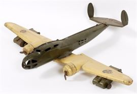 "Lot#3121, BUDDY-L PRESSED STEEL, BOMBER WITH ARMY TANKS, C1950, H 6"", W 24"", L 20"""