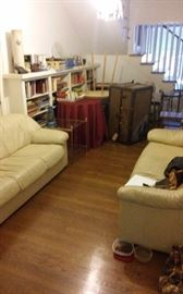 Pair of light leather sofas