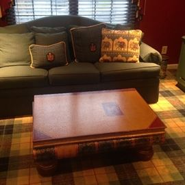 Ethan Allen sofa, Faux book coffee table