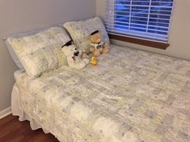 Bedspread, shams, and bed skirt for sale, not the bed.