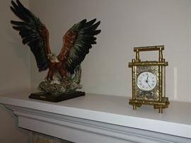 Antique carriage clock, eagle statue