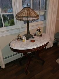 Tiffany style lamp, marble top table