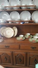 2 piece buffet and hutch. christmas party set , beautiful china set