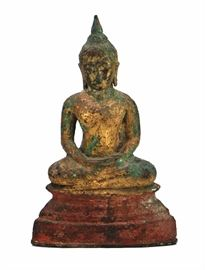 3 SEATED BUDDHA銅鎏金佛像                                 Seated in meditation, this Buddha has been gilt and is with green deposits.27.5 X 17