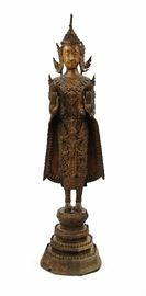 5. STANDING BUDDHA泰國佛立像                            Standing tall and ornately dressed with both hands raised atop a tiered base. Has been repaired at the top of the crown. H:20 in  W:5 1/in