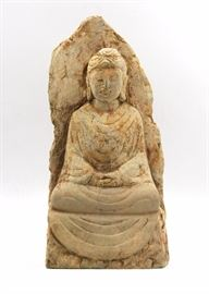 11.STONE SEATED BUDDHA石佛像A stone statue of Buddha in meditation.H:12 3/4 in   W: 6 1/4 in