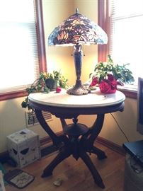 Beautiful marble top table and nice Tiffany style lamp